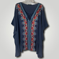 PLUS ANDREE BY UNIT BOHO EMBROIDERED TIE BACK Shark Bite TUNIC TOP BLUE 1X - 3X