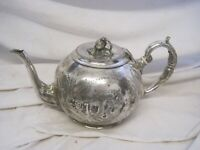 VINTAGE Britannia Metal SILVER PLATED Tea Pot TEAPOT 19th Century ENGLAND