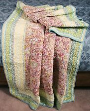 Quilt Throw Tropical Floral Blossom Blue Green Lap Blanket