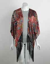 Joseph Ribkoff Cover Up Red Black Print Fringe No Front Closure Size 10 New