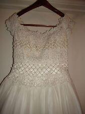 Jasmine Ivory Silk Ball Gown Lace Pearl Wedding Dress w/ Detachable Train Sz 10