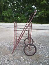 """Vintage Industrial Farmhouse Folding  Metal Wire Market, Cart W/ 10"""" Wheels"""