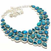 """Rainbow Calsilica, Blue Topaz Gemstone Fashion Jewelry Necklace 18"""" SN1579"""