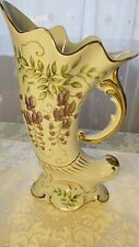 Stunning Unique Unagco Vase hand Purple Flowers Gold Color Inlay Japan Textured