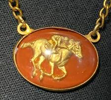 Vintage Men's RACE HORSE Equestrian Lucite Gold Tone Black TIE BAR Clip Clasp