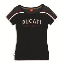 DUCATI Meccanica t-shirt donna Nero corta Vintage Retro NUOVO