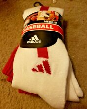 ADIDAS WHITE LONG SOCKS WITH RED LOGOS, PERFECT FOR SOCCER OR BASEBALL, NEW