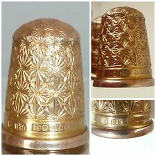 Charles Horner Victorian 9ct solid gold Thimble Chester 1890 Size 8 Sewing Box