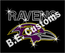 "Rhinestone Transfer ""Baltimore Ravens"" New Hotfix, Iron On, Bling"