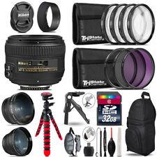 Nikon AF-S 50mm 1.4G - 3 Lens Kit + Tripod + Backpack - 32GB Accessory Bundle