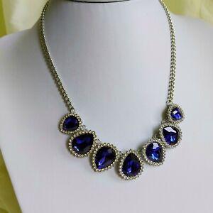 Statement Sparkly Diamante Blue Drop Necklace,   Xmas Party