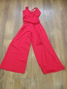BERSHKA Red Ribbed Wide Leg Cropped Strappy Playsuit With Belt ~ S