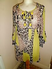 WALLIS Lime Green, White & Brown Beach Cover up with Beads Small Worn Once