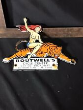 Vintage Boutwell's Cycle Center Porcelain Sign Dealer Sign Tiger Pinup