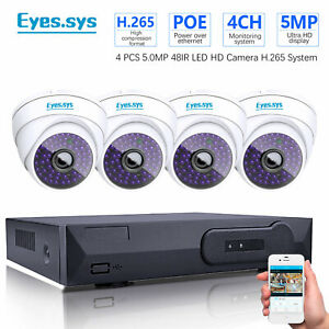 Eyes.sys H.265 4CH POE NVR 4PCS 5MP HD CCTV 48LED IP Dome Camera Security system