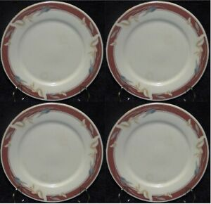 "Sango Taupe Fantasy Salad Plates 7 1/2"" 8394 Majesty Set of 4"