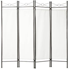4-panel room divider separator panel wall movable partition folding screen white