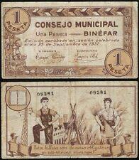 Guerra Civil. 1 Peseta. Consejo Municipal de Binéfar. Huesca. 1ª Emisión.