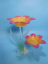 Teelichthalter für zwei Teelichter Blume 19 x 12 x 18 cm aus Glas Deko neu