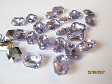 50 Acrylic Rhinestone Cabochons 6x8mm Faceted Rectangles ~ RIVOLI BACK / Lilac