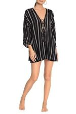 Robin Piccone  Claire Lace up Cover Up Tunic Striped Tasseled Black SIZE M