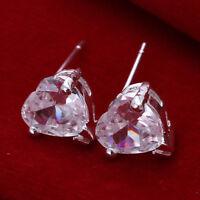 ASAMO Mujer Pendientes Con Corazón Piedra Pendientes Plata de Ley Plateado O1087