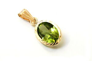 9ct Gold Peridot Pendant Oval Necklace no chain Gift Boxed Made in UK