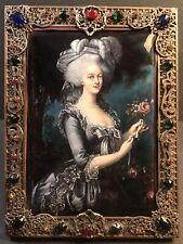 """Large Antique Enamel Plaque/ Jeweled Bronze Frame/ Signed/ France 1860/ 8 1/2 """""""