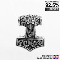 925 Silver Thor's Hammer Mjolnir Norse Viking Pendant ✔️Solid✔️Quality