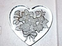 Heart Shaped ETCHED FLORAL  Art Glass Paperweight VALENTINES DAY