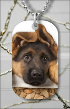 DOG GERMAN SHEPHERD  PUPPY FACE DOG TAG PENDANT NECKLACE FREE CHAIN -yes3Z