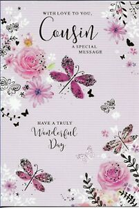 """COUSIN FEMALE BIRTHDAY GREETING CARD 7""""X5"""" DRAGONFLIES AND FLOWERS FREE P&P"""