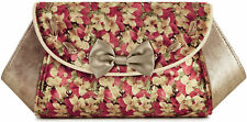 Ruby Shoo PALMA Vintage FLORAL VELVET Samt Schleife Bow CLUTCH Tasche Rockabilly