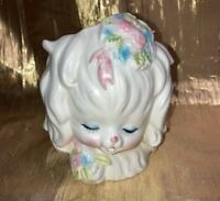 Vintage White Ceramic Puppy Dog Planter w/ Pastel Flowers