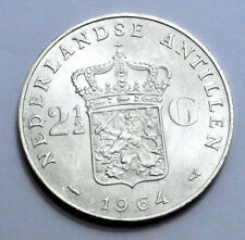1964 Nederlands 2 1/2 GULDEN SILVER Crown COIN QUEEN JULIANA Rare OLD , UNC/MS !
