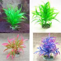 EG_ Artificial Ornament Plastic Plant Aquarium Fish Tank Fake Grass Decoration E