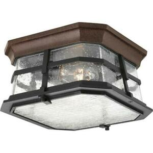 Derby Collection 2-Light Espresso Outdoor Flushmount by Progress Lighting