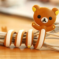 FD2399 Cartoon Earphone Headphone Cable Cord Organize Wind Wrap ~Brown Bear~ 1pc