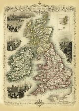 United Kingdom and Ireland Antique Illustrated Map Tallis 23.2 x 16.8 inch