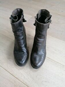 Ladies Moda In Pelle Black Leather Ankle Boots Size 5