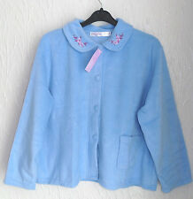 LADIES  FLEECE LONG SLEEVED BLUE BUTTON FRONTED BED JACKET SIZE (20/22)