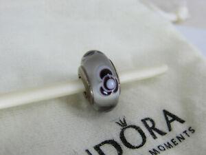 Pandora Murano glass charm retired Bleeding Heart with black white dots
