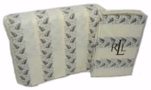 RALPH LAUREN Winter Cottage Leaf KING FLAT SHEET & PILLOWCASES SET Black Cream