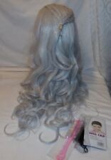 Aosler Long Wavy Silver Gray Wig New Synthetic w/ Cap and Comb Braid Braided