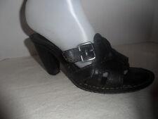 BORN Black Leather Sandals / Heels / Slides size 38  / US 7 M