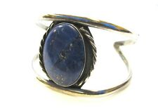 Silver Lrg Oval Lapis Stone Cable Twist Accent Shank Cuff Bracelet 33.8g#178MLS