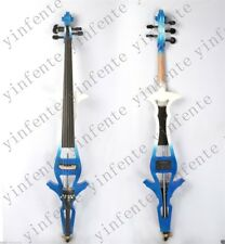 5string 4/4 Electric Cello Solid wood White+blue color silent PU handmade#EC8-5