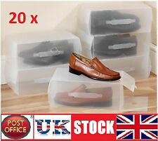 20x Large Men's women's shoe Boxes Storage Box Organiser Transparent Plastic