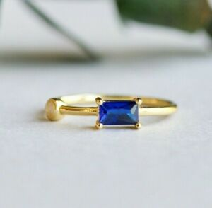 14k Gold Vermeil Ring, Moonstone Ring, Baguette Ring, 925 Sterling Silver