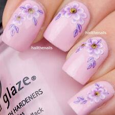 Nail Wrap Art Water Transfer DECAL - Lilac Daisy Flower Nail Art Y021 Wedding